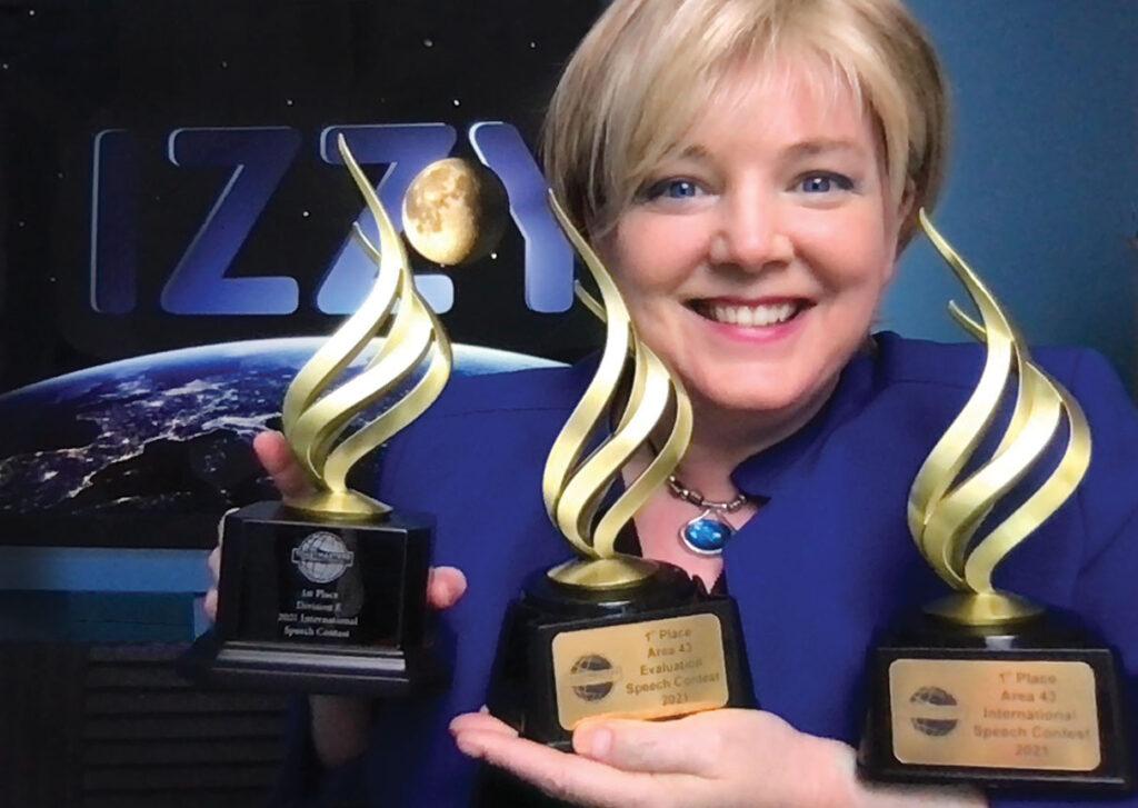 Izzy with Toastmaster International speech awards